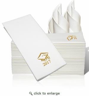 LINEN-LIKE DISPOSABLE GUEST TOWELS : 25 Count Gold Grad Cap