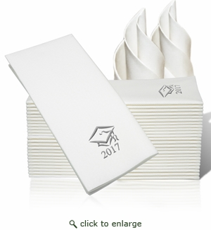 LINEN-LIKE DISPOSABLE GUEST TOWELS : 25 Count Silver Grad Cap