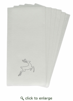 LINEN-LIKE DISPOSABLE GUEST TOWELS : 50 Count SILVER DEER
