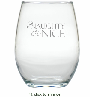 NAUGHTY OR NICE SANTA HAT WINE STEMLESS TUMBLER - SET OF 4 (GLASS)