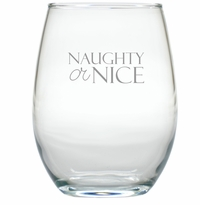 NAUGHTY OR NICE WINE STEMLESS TUMBLER - SET OF 4 (GLASS)