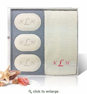 ORIGINAL GIFT SET (3 Bars 1 Towel) : RED MONOGRAM