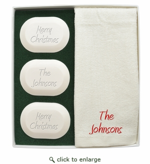 ORIGINAL LUXURY GIFT SET (3 Bars 1 Towel): PERSONALIZED MERRY CHRISTMAS