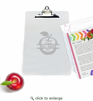 "Personalized Acrylic 10"" x 14"" Clipboard : SPLIT APPLE"