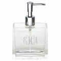 PERSONALIZED ACRYLIC MODERN RECTANGLE SOAP DISPENSER WITH SILVER PUMP