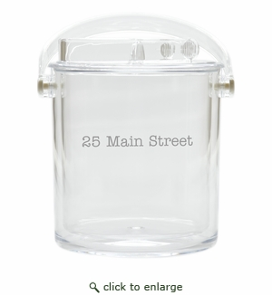 PERSONALIZED ADDRESS ICE BUCKET WITH TONGS