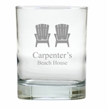 PERSONALIZED ADIRONDACK CHAIR OLD FASHIONED: SET OF 6 (Glass)