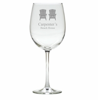 PERSONALIZED ADIRONDACK CHAIR WINE STEMWARE - SET OF 4 (GLASS)