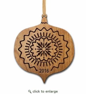 Personalized Alder Wood Ornament: Holiday Joy