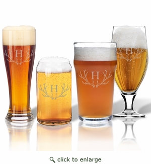 PERSONALIZED ANTLER MOTIF VARIETY MIXED BEER GLASSES