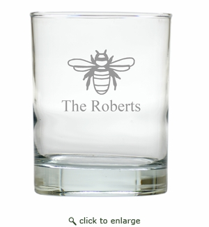 PERSONALIZED BEE OLD FASHIONED - SET OF 6 GLASS