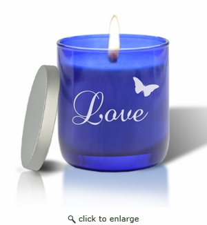 PERSONALIZED BLUE COLLECTION CANDLE : LOVE WITH BUTTERFLY