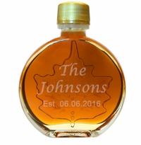 Personalized Certified Organic Vermont Maple Syrup Medallion Glass (100 ml) Case of 24 ($5.95/each bottle)
