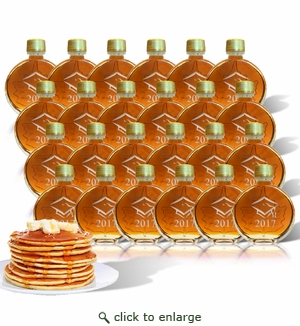 Personalized Certified Organic Vermont Maple Syrup Medallion Glass (100 ml) Case of 24 : Graduation 2017