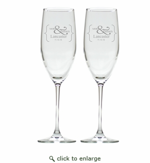 PERSONALIZED CHAMPAGNE FLUTE SET OF 2 BRACKET (GLASS)