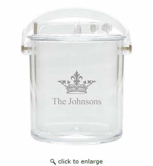 PERSONALIZED CROWN ICE BUCKET WITH TONGS