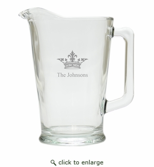 PERSONALIZED CROWN PITCHER  (GLASS)