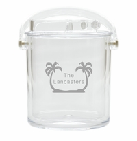PERSONALIZED PALM TREES ICE BUCKET WITH TONGS