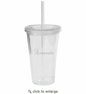 PERSONALIZED DOUBLE WALLED TUMBLER WITH STRAW(Unbreakable)