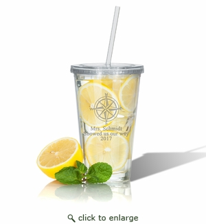PERSONALIZED DOUBLE WALLED TUMBLER WITH STRAW(Unbreakable) : COMPASS ROSE