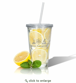 PERSONALIZED DOUBLE WALLED TUMBLER WITH STRAW(Unbreakable) : SCIENCE