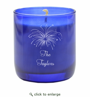 PERSONALIZED FIREWORKS COBALT COLLECTION CANDLE