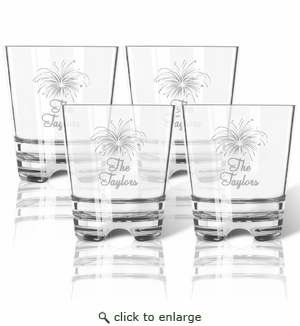 PERSONALIZED FIREWORKS OLD FASHIONED - SET OF 4 (Tritan Unbreakable)