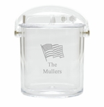 PERSONALIZED FLAG ICE BUCKET WITH TONGS