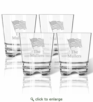 PERSONALIZED FLAG OLD FASHIONED - SET OF 4 (Tritan Unbreakable)