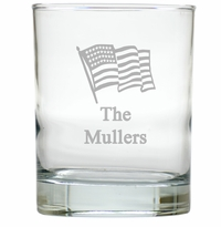 PERSONALIZED FLAG OLD FASHIONED - SET OF 4 (Unbreakable)
