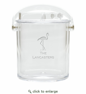 PERSONALIZED FLAMINGO ICE BUCKET WITH TONGS