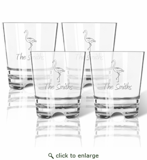 PERSONALIZED FLAMINGO OLD FASHIONED - SET OF 4 (Tritan Unbreakable)