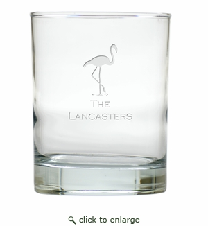 PERSONALIZED FLAMINGO OLD FASHIONED - SET OF 6 GLASS