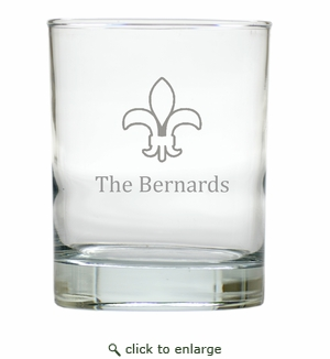 PERSONALIZED FLEUR DE LIS OLD FASHIONED - SET OF 4 (Unbreakable)