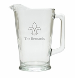 PERSONALIZED FLEUR DE LIS PITCHER  (GLASS)