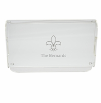 PERSONALIZED FLEUR DE LIS SERVING TRAY WITH HANDLES