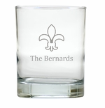 PERSONALIZED FLUER DE LIS OLD FASHIONED - SET OF 6 GLASS