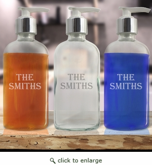 Personalized Glass Soap Dispenser - 8oz Boston Round