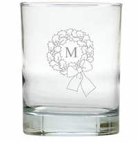 PERSONALIZED INITIAL WREATH OLD FASHIONED - SET OF 6 GLASS