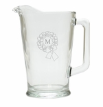 PERSONALIZED INITIAL WREATH PITCHER  (GLASS)