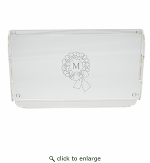 PERSONALIZED INITIAL WREATH SERVING TRAY WITH HANDLES