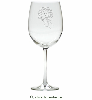 PERSONALIZED INITIAL WREATH WINE STEMWARE - SET OF 4 (GLASS)