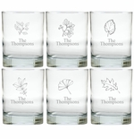 PERSONALIZED LEAVES OLD FASHIONED - SET OF 6 GLASS