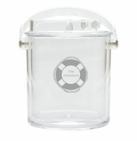 PERSONALIZED LIFE PRESERVER ICE BUCKET WITH TONGS