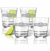 PERSONALIZED OLD FASHIONED - SET OF 4 (Unbreakable): Sports, Food, & Drinks