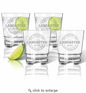 PERSONALIZED OLD FASHIONED - SET OF 4 (Unbreakable): Sports Bar and Grill