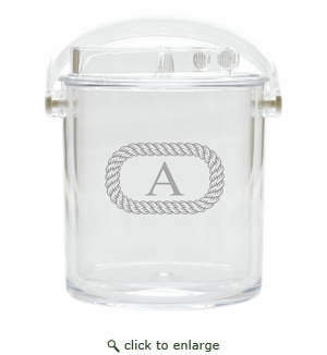 PERSONALIZED OVAL ROPE  ICE BUCKET WITH TONGS