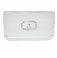 PERSONALIZED OVAL ROPE SERVING TRAY WITH HANDLES