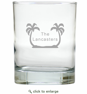 PERSONALIZED PALM TREES OLD FASHIONED - SET OF 4 (Unbreakable)