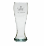 PERSONALIZED PILSNER GLASS: SET OF 4- CROWN